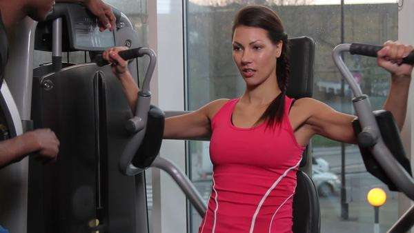 Female and male coach, working out in gym Royalty-free stock video