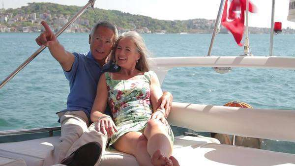 Senior couple embracing on a yacht in Istanbul, Turkey Royalty-free stock video