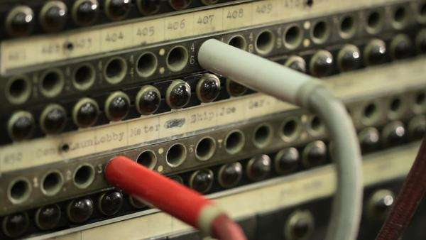 Quick move to reveal cables and details of an old telephone switchboard Royalty-free stock video
