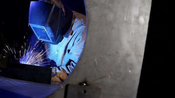 Industrial worker welding Royalty-free stock video