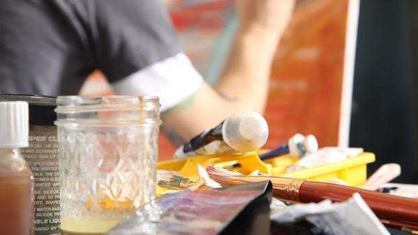 Painting supplies closeup Royalty-free stock video