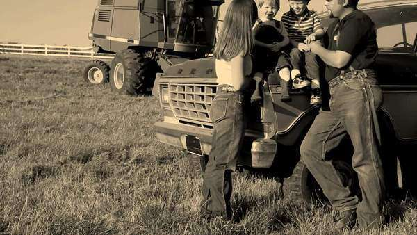 Farmer with family in field Royalty-free stock video