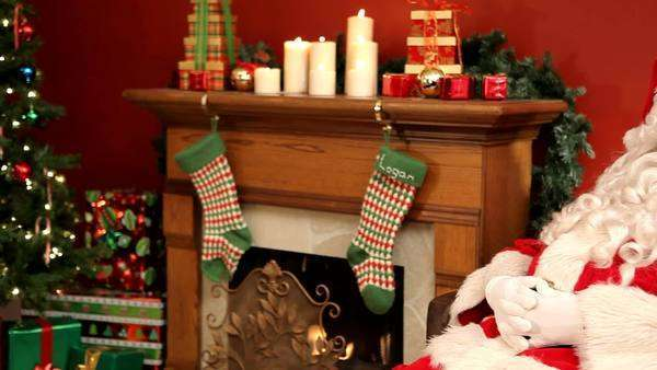 Christmas scene with Santa Claus sleeping Royalty-free stock video