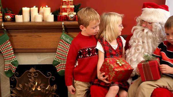 Santa Claus with three children Royalty-free stock video