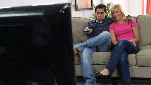 Young couple watching TV Royalty-free stock video