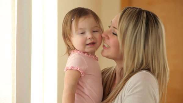 Portrait of mother and young daughter Royalty-free stock video