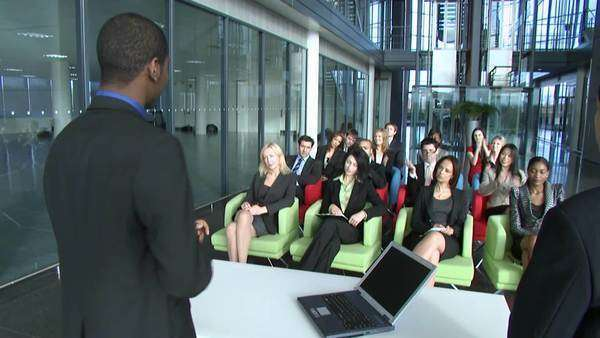 Multiple employees at a business seminar Royalty-free stock video