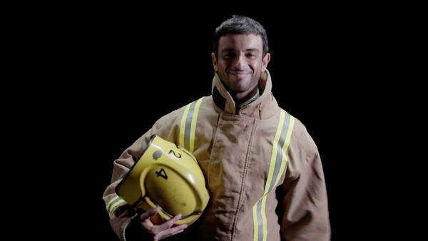 Fireman on black background Royalty-free stock video