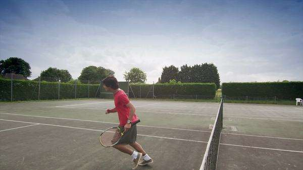 Winning tennis player shows excitement Royalty-free stock video