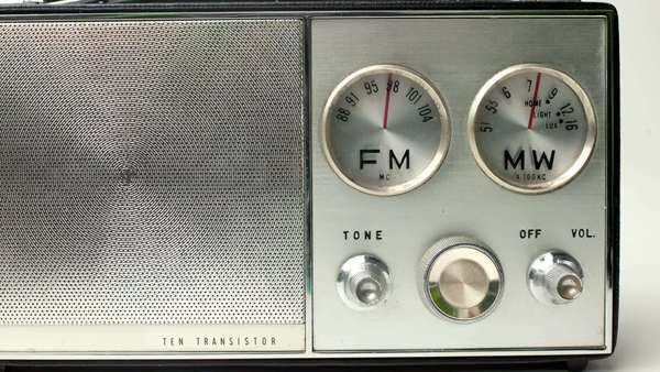 a retro radio with the marker running through the different stations and frequencies Royalty-free stock video