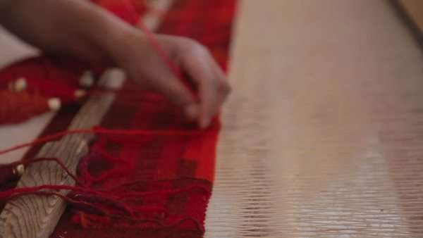 weaving in a traditional textiles factory in Mexico Royalty-free stock video