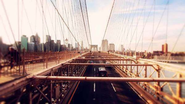 Stop motion of cars and people on Brooklyn-Bridge, NYC Royalty-free stock video