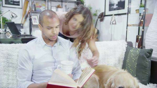 Young couple reading and relaxing at home with their pet dog. Young woman kisses her partner on the cheek and brings him a hot drink. Royalty-free stock video