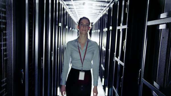 Female IT engineer working in a data centre Royalty-free stock video