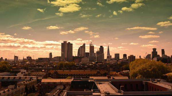 Abstract and highlighted colour timelapse of the skyline of London Royalty-free stock video