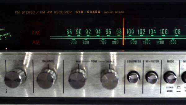 stop motion of a vintage radio receiver changing the frequency Royalty-free stock video