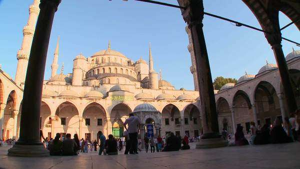 An interior courtyard view of the Blue Mosque In Istanbul, Turkey. Royalty-free stock video