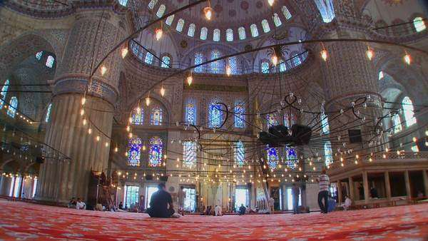 The interior of the Blue Mosque in Turkey. Royalty-free stock video