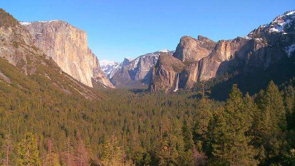 A dramatic overview shot from a viewpoint of Yosemite National park. Royalty-free stock video