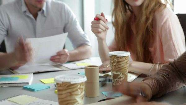 Five young people having meeting in office Royalty-free stock video