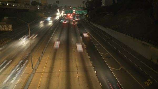 Timelapse of traffic on the 101 Freeway at night Los Angeles Royalty-free stock video