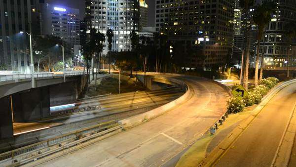 night traffic on busy LA Freeways timelapse Royalty-free stock video