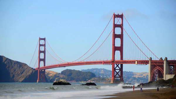 The Golden Gate Bridge with San Francisco in the background Royalty-free stock video