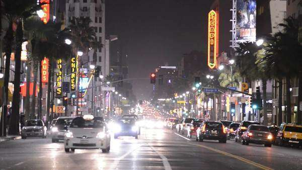Famous Hollywood Strip at night Royalty-free stock video
