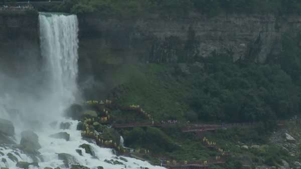 Timelapse of people at Niagara Falls waiting for maid of the mist Royalty-free stock video