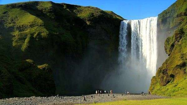 Visitors at the base of Gulfoss waterfall 60 FPS Royalty-free stock video
