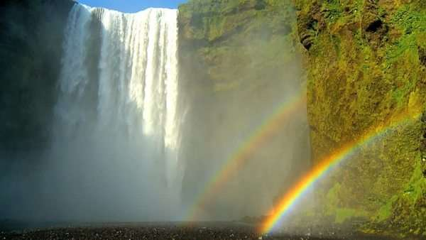 Rainbow over Gulfoss Waterfall, Iceland 60 FPS Royalty-free stock video