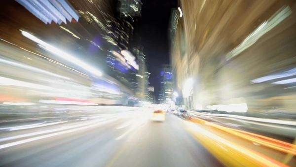 Timelapse Point of View driving at night in Midtown Manhattan, NY, USA Royalty-free stock video