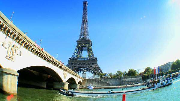 Views of Paris, France from a sightseeing cruise on the River Seine \n  \n Royalty-free stock video