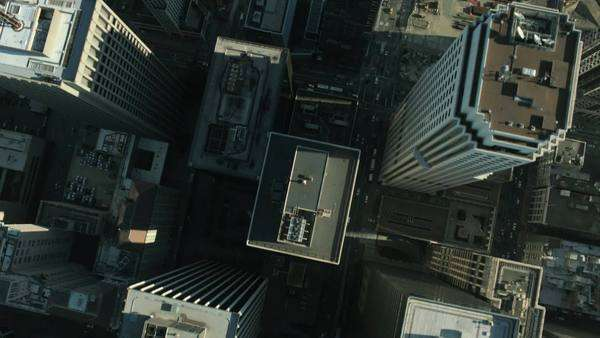Aerial vertical view of rooftop skyscrapers within the streets and commercial area of San Francisco, California, North America Royalty-free stock video