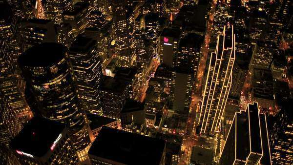 San Francisco - December 18: Aerial view of downtown skyscrapers San Francisco at night December 18, 2011  \n Royalty-free stock video