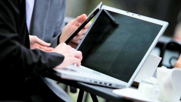 Hands business people using laptop wireless tablet outdoor Royalty-free stock video