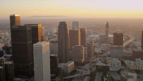 Los Angeles - December 14:Aerial sunset view of downtown traffic and city skyscrapers Los Angeles  December 14, 2011 Royalty-free stock video