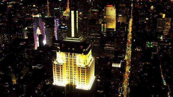 Aerial view of Midtown Manhattan, illuminated Empire State Building, Observation Point, New York, USA, shot on RED EPIC Royalty-free stock video