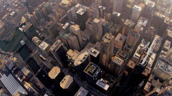 Aerial sunrise vertical view of Chicago city skyscrapers, Willis Tower downtown Chicago, Illinois, USA, shot on RED EPIC Royalty-free stock video