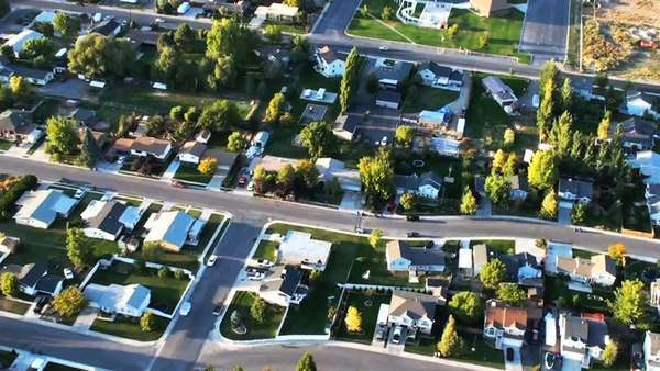 Aerial shot of Lehi neighborhoods and swimming pool. Royalty-free stock video