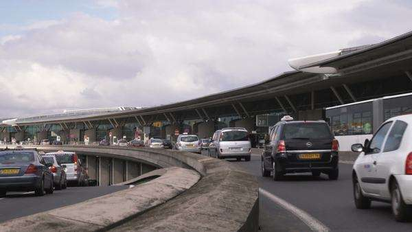 Shot of cars driving towards the Charles de Gaulle Airport in Paris Royalty-free stock video