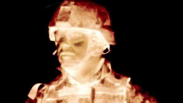 Negative shot of soldier's head and bust, looking around. Green Beret United States Army Special Forces. Royalty-free stock video