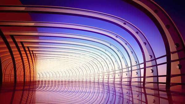 3D loopable animation of a colorful futuristic tunnel Royalty-free stock video