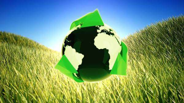 Recycling planet on green field background Royalty-free stock video