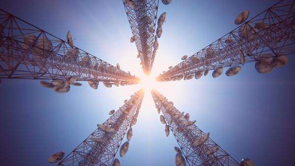 Loopable animation of endless communication tower Royalty-free stock video