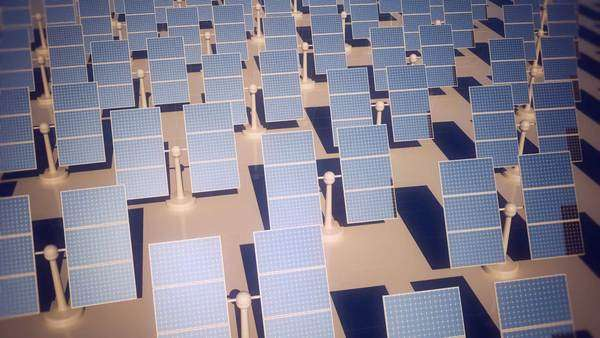 Animation of sunny solar panels in a solar power station, view from the top Royalty-free stock video