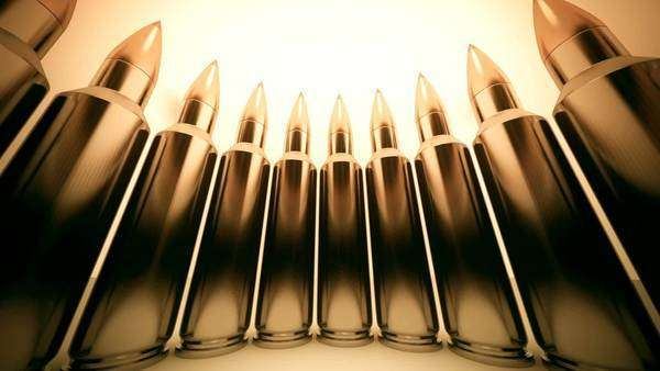 Loopable animation of bullets shaping a circle Royalty-free stock video