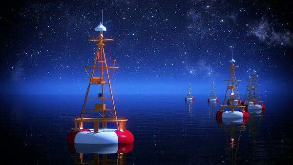 Time-lapse 3D animation of buoy on a starry night Royalty-free stock video