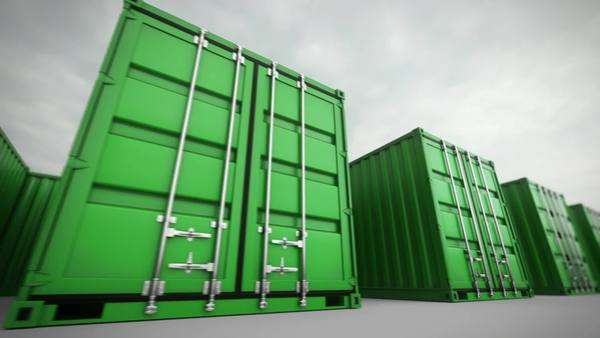 Picture of green containers in a row Royalty-free stock video