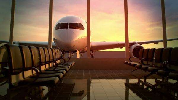 Animation of modern airport terminal with black leather seats and a huge viewing glass façade Royalty-free stock video